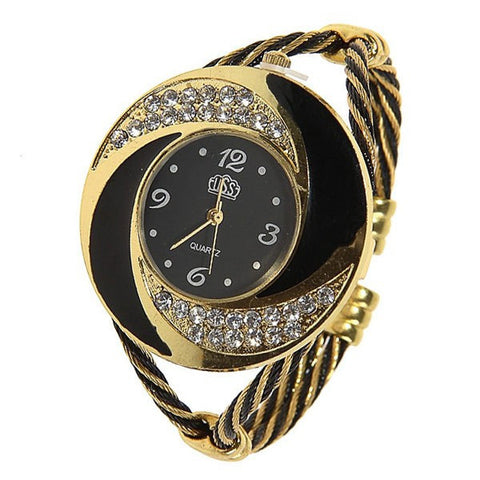 2017 CUSSI Luxury Brand CUSSI Rhinestone large wrist watch women Fashion Vintage styling female designer ribbon band Dress time - Coolmart.us