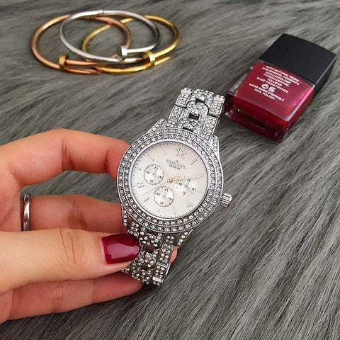 2017 New Hot Sale Contena Classic Women Full Diamond Dress Watches Ladies Quartz Watch Gold Woman Watches Reloj Mujer - Coolmart.us