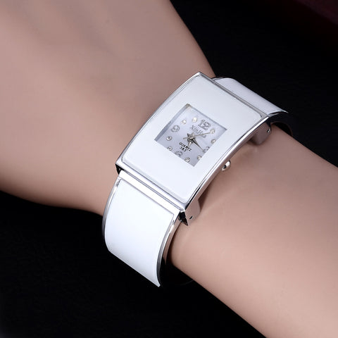 2017 Xinhua Fashion White Black Watches Women Stainless Steel Bracelet Bangle Luxury Rectangle Quartz Watches Relogios Feminino - Coolmart.us