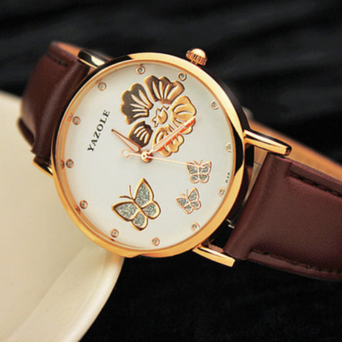 2017 New Fashion Yazole Butterfly Flower Bling Genuine Leather Quartz Wedding Wristwatches Wrist Watch Women Montres Femme - Coolmart.us