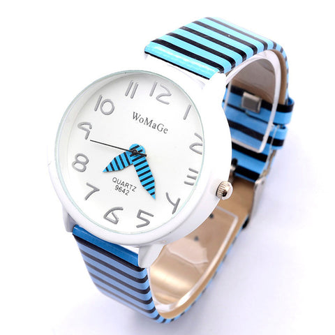 2017 New Top Brand Womage Simple Designer Zebra Crossing Stripe Cow Leather Wrist Watches Girl Children Popular Quartz Clock - Coolmart.us