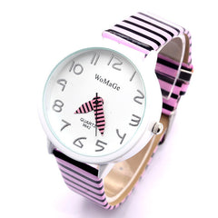 2017 New Top Brand Womage Simple Designer Zebra Crossing Stripe Cow Leather Wrist Watches Girl Children Popular Quartz Clock