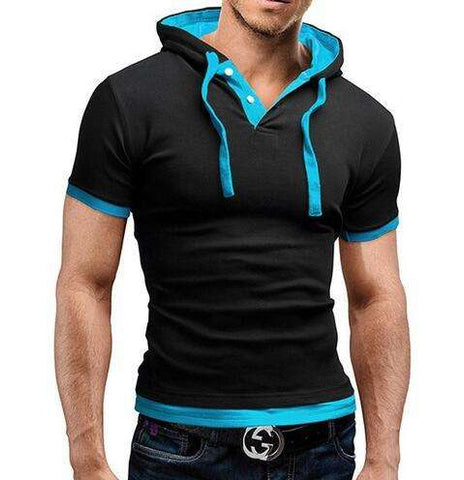 T Shirt Men  Fashion Men'S Hooded Collar Sling