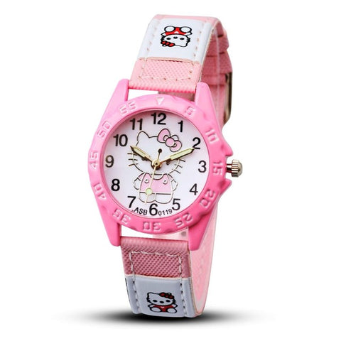2017 Hello Kitty Cartoon Watches Kid Girls Leather Straps Wristwatch Children Hellokitty Quartz Watch Montre Enfant - Coolmart.us