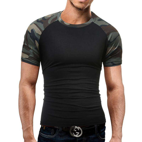 Brand Men'S T Shirt 2017 Summer Splicing Fashion O-Neck Short-Sleeved Tees Male Casual T-Shirt Slim Male DD01 - Coolmart.us