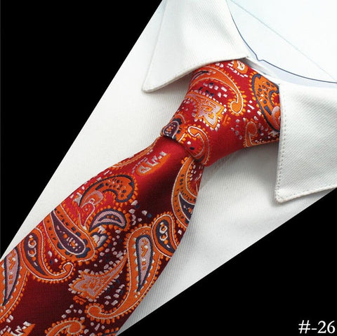GUSLESON Silk Men Tie 8cm Plaid Paisley Neck Ties for Men Necktie Classic Wear Business Wedding Tie Party Gravatas 1200 Needles - Coolmart.us