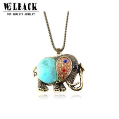 High Quality Fashion vintage jewelry accessories bohemia long design retro gem rhinestone elephant necklace pendant for women - Coolmart.us