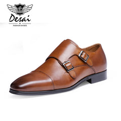 DESAI Men's Genuine Leather  Pointed Toe  Oxford Shoes With Double Buckle