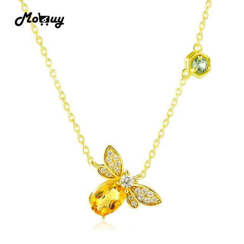 MoBuy MBNI015 Sweet Bee Natural Gemstone Citrine Necklace & Pendant 925 Sterling Silver 14K Yellow Gold Plated Fine Jewelry Gift - Coolmart.us