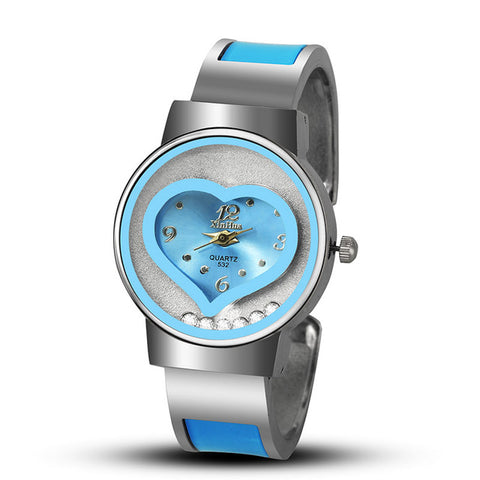 2017 New Hot Sell XINHUA Bracelet Watch Women Blue Luxury Brand Stainless Steel Dial Quartz Wristwatches Ladies Fashion Watches - Coolmart.us