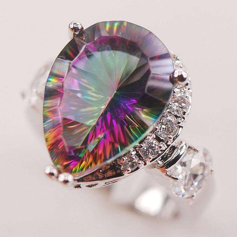 Rainbow White Mystic Crystal Zircon 925 Sterling Silver Woman Ring