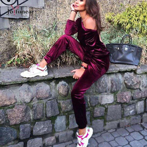 fashion Solid Color velet Loose 2 pcs suit women  2 piece set  Hight quality  Long Sleeve top  and stretch Waist  pants sets