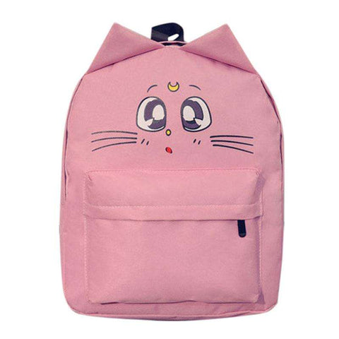 Cute Cat Printing Travel Sailor Moon Canvas Backpack  for Teenage Girl