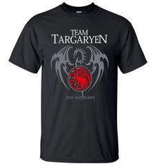 Image of 2017 Summer Men Short Sleeve Shirt 100% Cotton Male T-Shirts Game of Thrones Targaryen Fire & Blood Men T Shirt Brand-Clothing