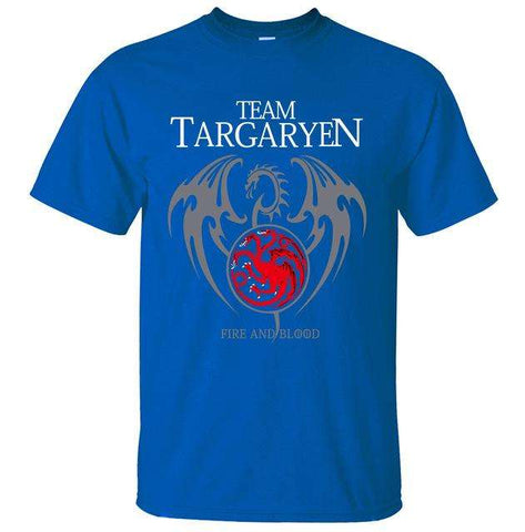2017 Summer Men Short Sleeve Shirt 100% Cotton Male T-Shirts Game of Thrones Targaryen Fire & Blood Men T Shirt Brand-Clothing
