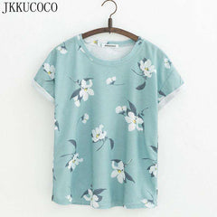 JKKUCOCO Orchid Flowers Print Women t shirt Short Sleeve Summer t-shirt Hot Tops tee Women Cotton T-shirt 21 Models - Coolmart.us