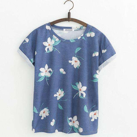 JKKUCOCO Orchid Flowers Print Women t shirt Short Sleeve Summer t-shirt Hot Tops tee Women Cotton T-shirt 21 Models
