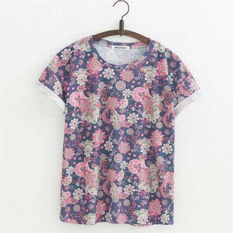 JKKUCOCO Orchid Flowers Print Women t shirt Short Sleeve