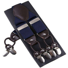 Image of Fashion Suspenders leather alloy 6 clips Braces Trousers Strap