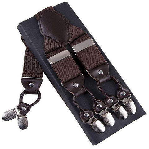 Fashion Suspenders leather alloy 6 clips Braces Male Vintage Casual  suspensorio Trousers Strap Father/Husband's Gift 3.5*120cm