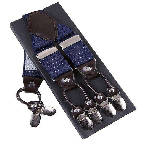 Fashion Suspenders leather alloy 6 clips Braces Trousers Strap