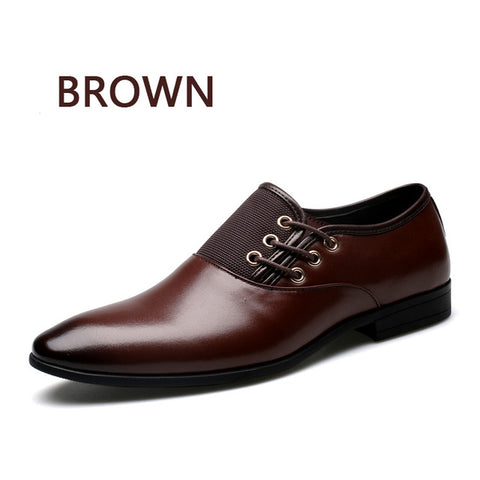 BIMUDUIYU Big Size 6.5-12 New Fashion Men Wedding Dress Shoes Black Shoes Round Toe Flat Business British Lace-up Men's shoes - Coolmart.us