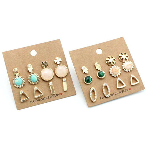 2017 Hot Sales 6 Pairs/Set Earrings Trendy Cute Flower Sun Stud Earrings For Women New Vintage Fashion Jewelry