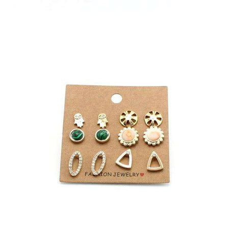 6 Pairs/Set Earrings Trendy Cute Flower Sun Stud Earrings - Coolmart.us
