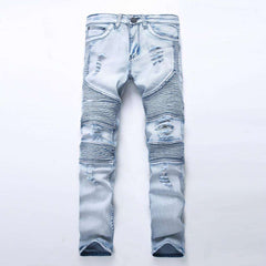 Upgrade Your Biker's Collections With Mens Ripped Denim Slim Fit Biker Jeans