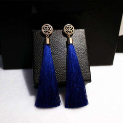 PPG&PGG New Ethnic style Long Tassel Earrings for women Fashion Crystal Flower Jewelry black blue and red colors female gifts