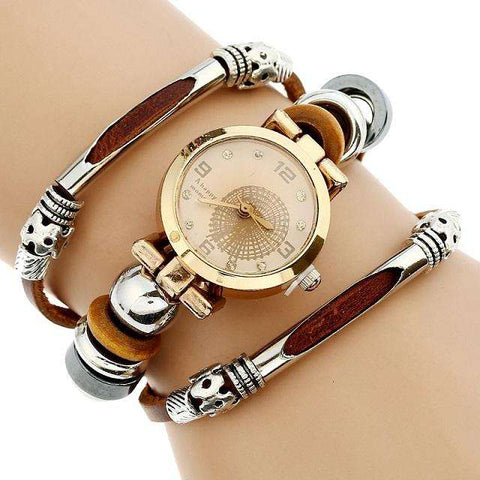 Genova Platinum Top Women Premium Genuine Leather Watch Triple Bracelet Watch Butterfly Charm Wristwatch Fashion  Para Femme - Coolmart.us
