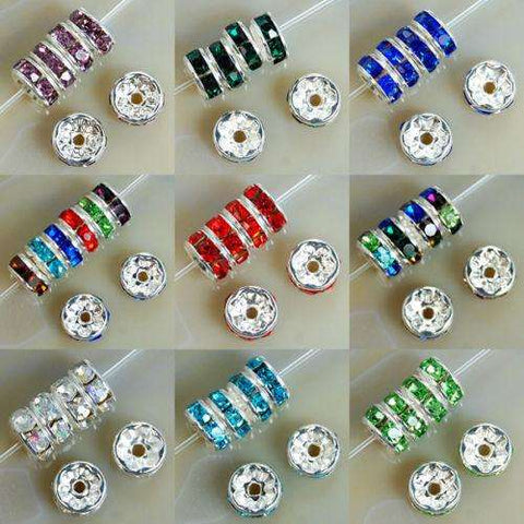 8MM AAA Metal Silver Plated Crystal Rhinestone Rondelle Spacer Beads
