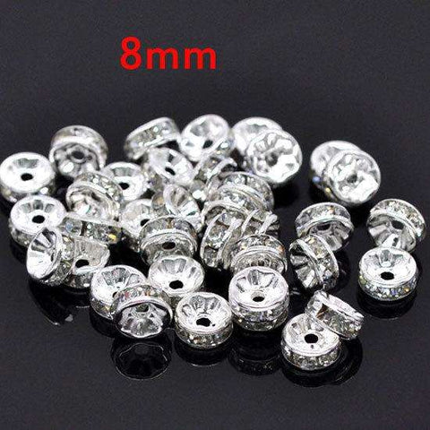 8MM AAA Metal Silver Plated Crystal Rhinestone Rondelle Spacer Beads - Coolmart.us