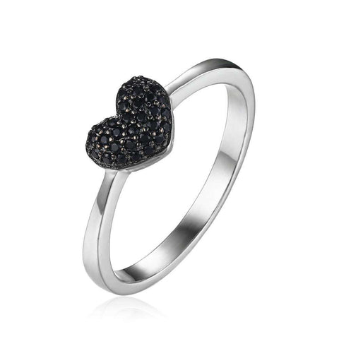 JewelryPalace 0.14ct Sterling Silver Natural Black Spinel Love Heart Rings For Women