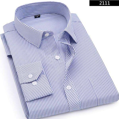 Men's Business Casual Long Sleeved Classic Striped Dress Shirts