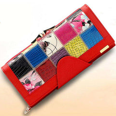 Fashion Women 3 Fold Genuine Leather Wallet Patchwork Hasp Coin Pocket Clutch Wallets Purse  Popular - Coolmart.us