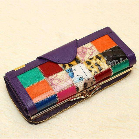 Fashion Women 3 Fold Genuine Leather Wallet Patchwork Hasp Coin Pocket Clutch Wallets Purse  Popular
