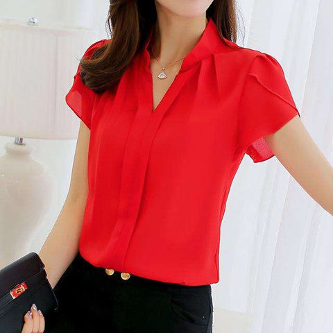 Short Sleeve Shirt Fashion Leisure Chiffon Blouse Tops