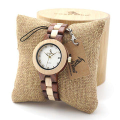 BOBO BIRD Women Dress Wristwatch with Full Wooden Band in Gift Box