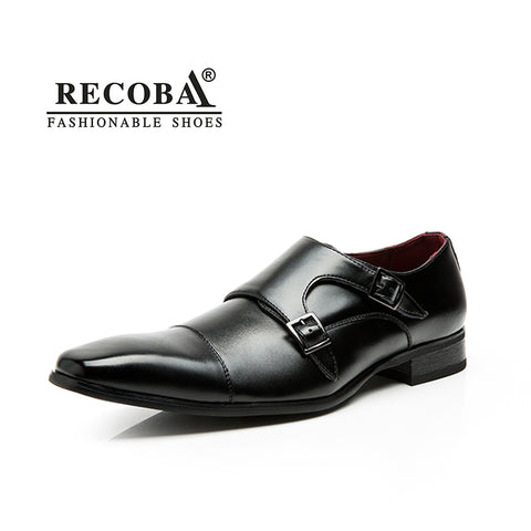 Men genuine leather black dress double monk buckle straps brogues shoes