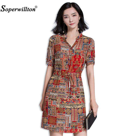 Soperwillton Women's Elegant Floral Print A Line Dress