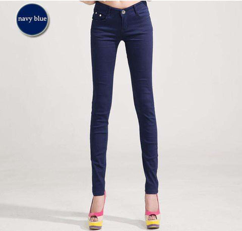 Woman jeans Solid Pencil Candy Color Slim Trousers