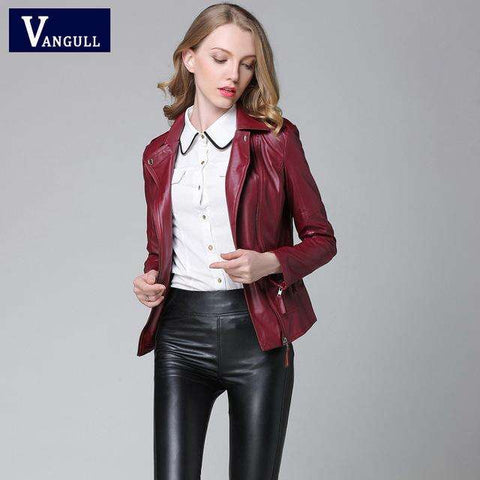 Elegant Autumn Winter Leather Jacket - Coolmart.us