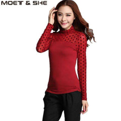 Women Mesh Black Blouse Feather/ Rose /Polka Dot /Jacquard Lace Shirts