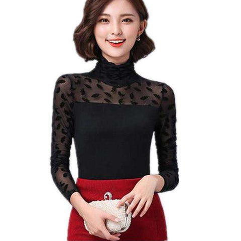 Autumn Women Mesh Black Blouse Feather/ Rose /Polka Dot /Jacquard Lace Shirts Strechy Turtleneck Tops Ladies Clothes Plus Size