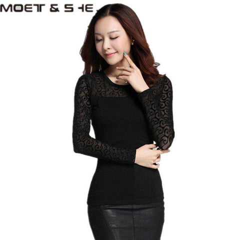Autumn Women Mesh Black Blouse Feather/ Rose /Polka Dot /Jacquard Lace Shirts Strechy Turtleneck Tops Ladies Clothes Plus Size - Coolmart.us