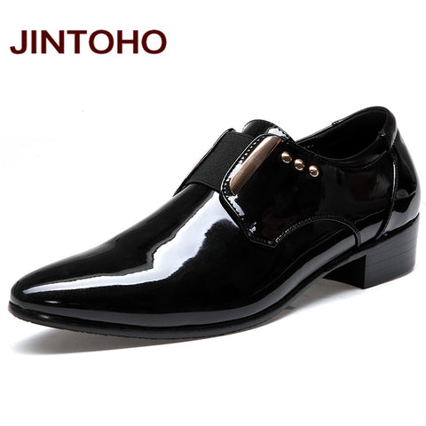 JINTOHO Men Dress Italian Leather Shoes Slip On Fashion Men Leather Moccasin Glitter Formal Male Shoes Pointed Toe Shoes For Men