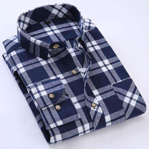 Men's Long Sleeve Brushed Flannel Shirt with Left Chest Pocket Slim-fit Comfort Soft Cotton Blend Midweight Casual Plaid Shirts - Coolmart.us