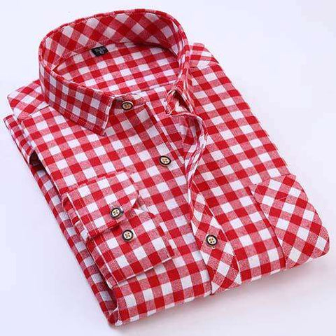 Men's Long Sleeve Brushed Flannel with Left Chest Pocket Slim-fit Comfort Soft Plaid Shirts