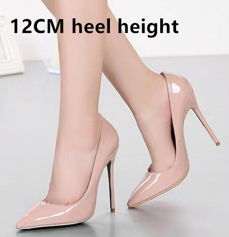 Brand 12CM High Heels Shoes Woman High Heels Pumps Wedding Bridal Shoes Black Heels Women Shoes High Heels Women Pumps B-0159 - Coolmart.us
